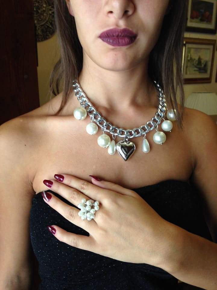 Collana catena perle e cuore