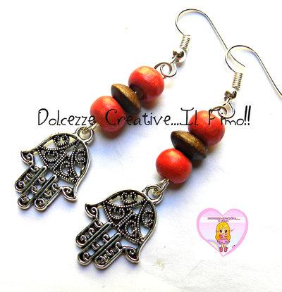 Orecchini Mano di Fatima Con perle Arancioni e marroni - handmade