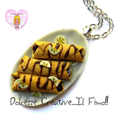 Collana Piatto di Crepes Con cioccolato e banane - idea regalo handmade