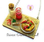 Collana Vassoio con piatto di Crepes e barattoli di zucchero e marmellata - miniature