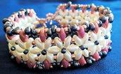 Bracciale con perline fiore avorio