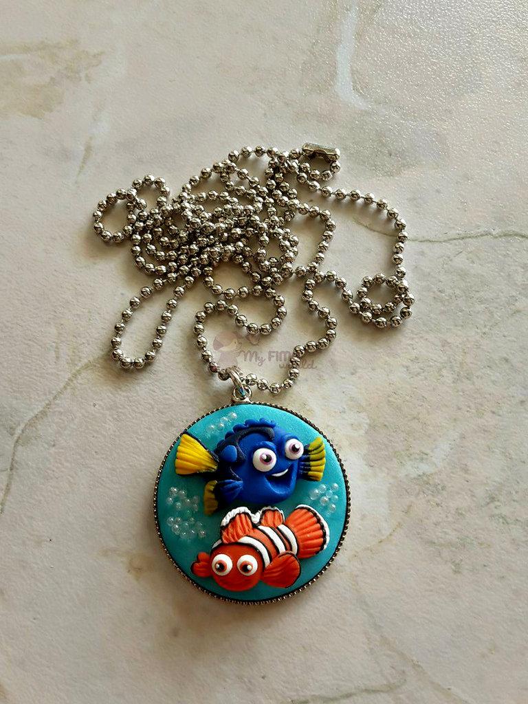 Collana con cammeo con Dory e Nemo fimo