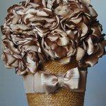 Vaso decorativo con fiori in tessuto