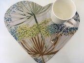 Coppia cuore tovaglietta americana fantasia foglie tropicali
