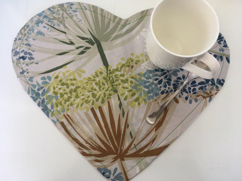 Coppia tovaglietta americana fantasia foglie tropicali