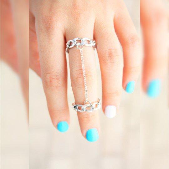 Doppia catena anello dell'articolazione - Catena anello d'argento