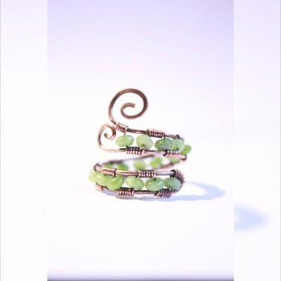 anello verde registrabile, rame ossidato, anello