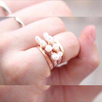 Perle d'acqua dolce del filo anello di barretta, d'acqua dolce