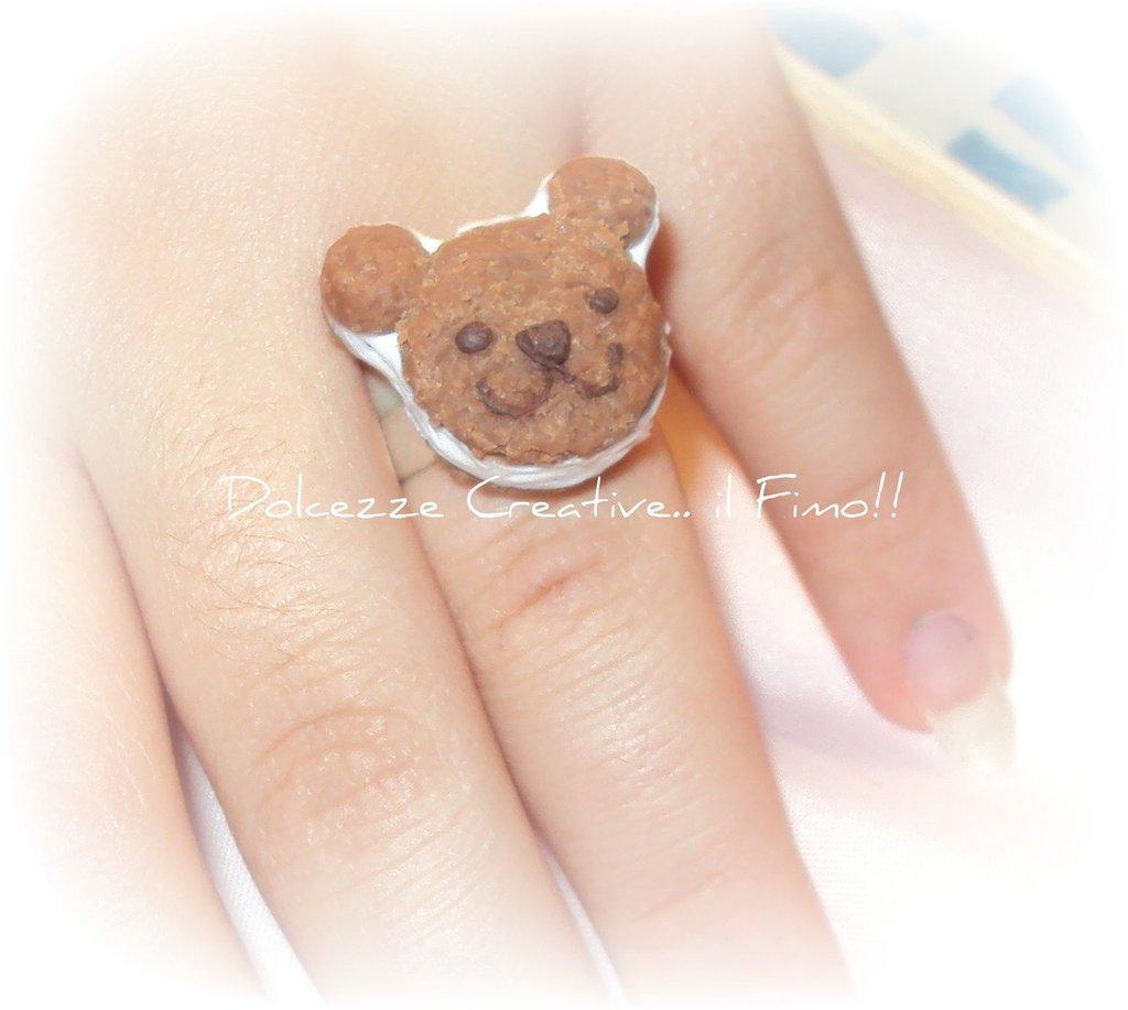 """Anello Teddy, orsetto biscotto con panna """" cucciolone"""" in fimo e cernit"""
