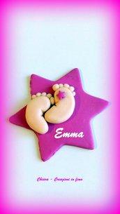 Bomboniere in fimo handmade piedini per nascita battesimo idea regalo nascita