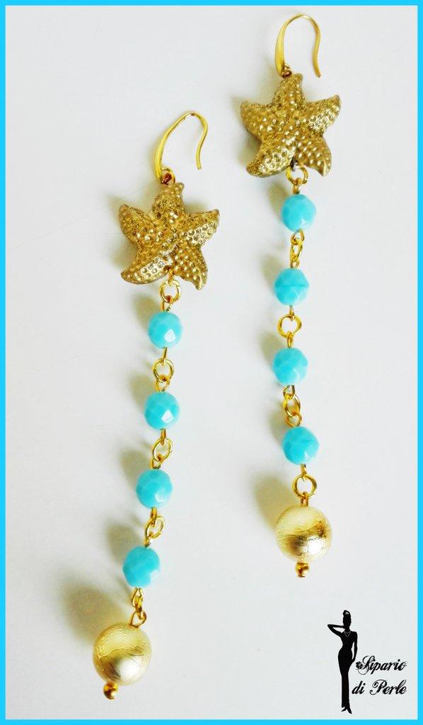 Orecchini con stella marina color oro e mezzicristalli turquoise