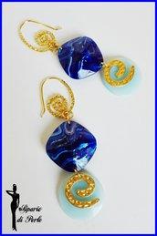 Orecchini blu/azzurro in resina