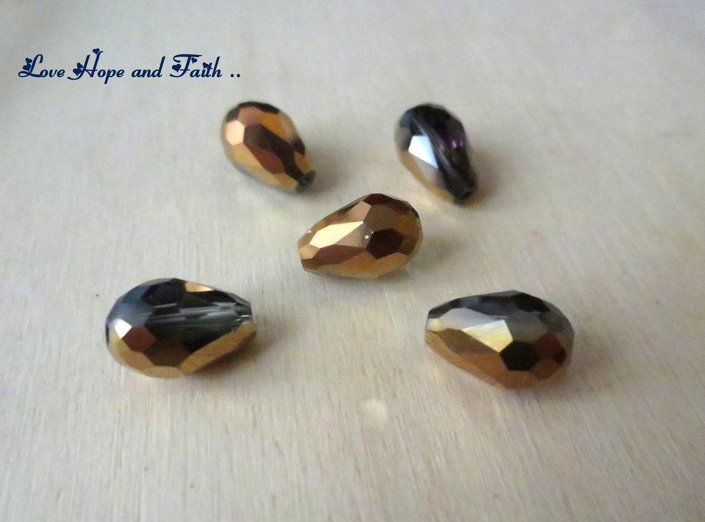 """LOTTO 10 perle teardrop """"bronzo"""" (8x12mm)"""