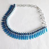 Collier Glam bianco e blu