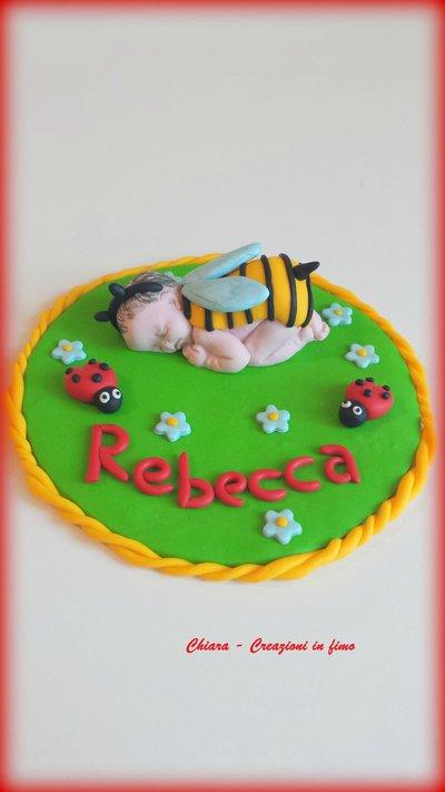 Cake topper in fimo per nascita battesimo con neonato angioletto piedini coccinelle api personalizzabile