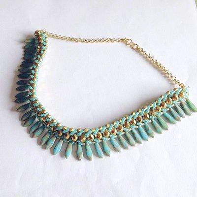 Collier Glam verde e oro