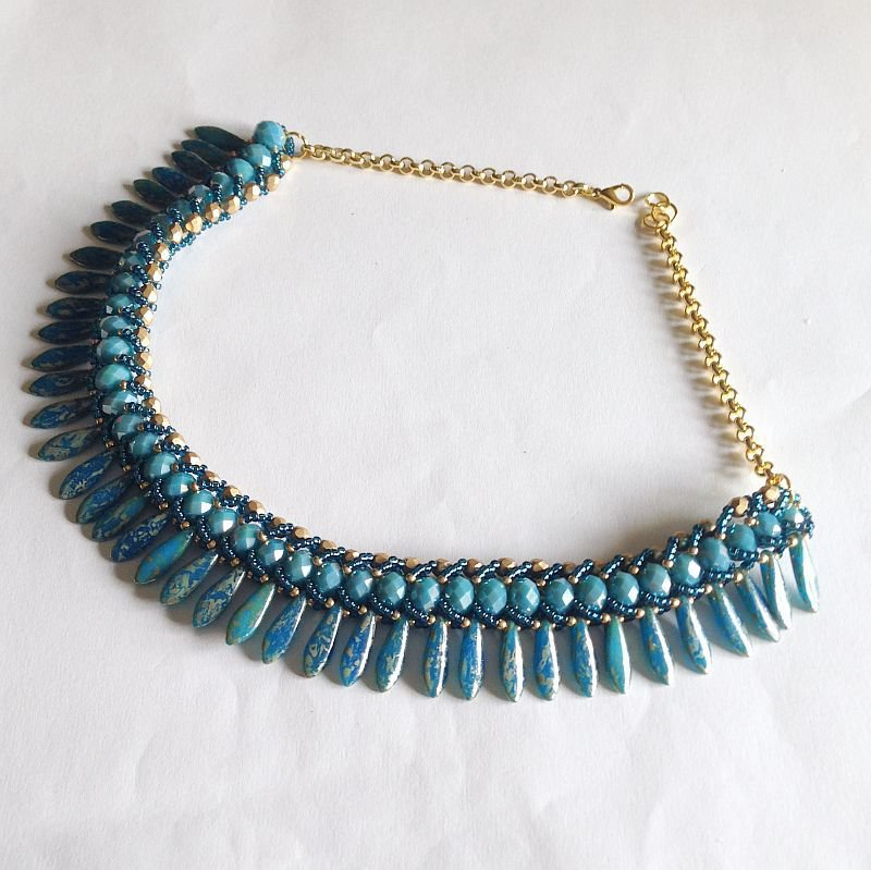Collier Glam azzurro e oro