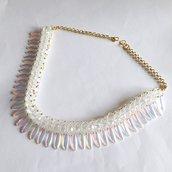 Collier Glam trasparente e oro con effetto aurora boreale