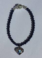 Bracciale con perle blu cobalto e ciondolo Swarovski crystal