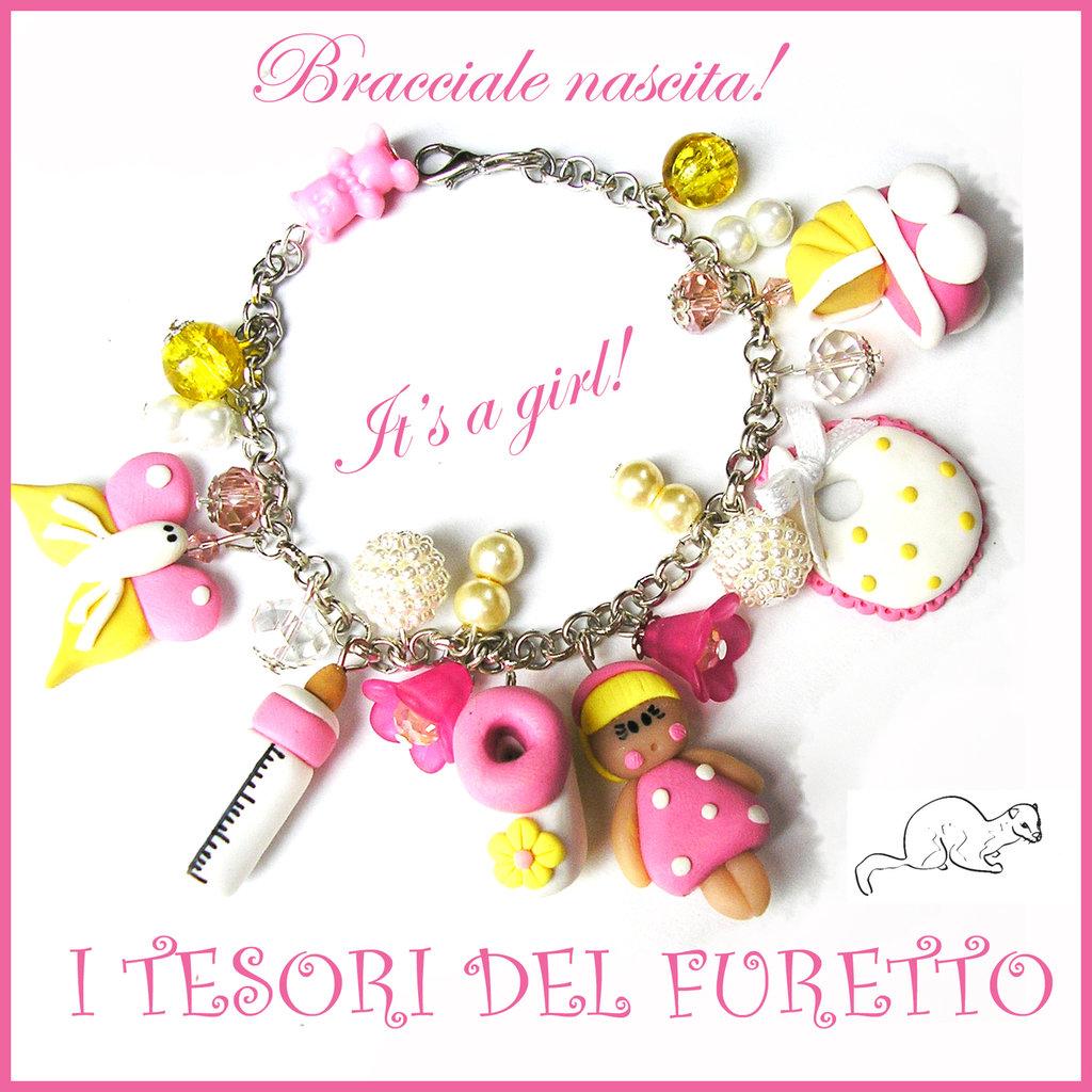 "Bracciale Nascita "" It's a girl! "" Battesimo baby shower idea regalo Kawaii Fimo cernit biberon carrozzina charm"