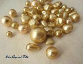 """LOTTO 50 gr perle in vetro di Bohemia """"Gold"""" (cod.PRECIOSA)"""