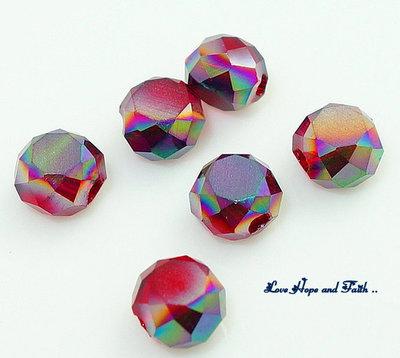 LOTTO 50 rondelle in vetro sfaccettate Amaranto effetto AB (6 mm)  (cod.new)