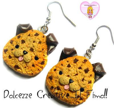 Orecchini Miniature - Cookie biscotto Cagnolino - handmade kawaii idea regalo fimo