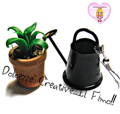 Orecchini Pollice verde - Giardinaggio - Vaso con pianta e annaffiatoio - handmade kawaii idea regalo