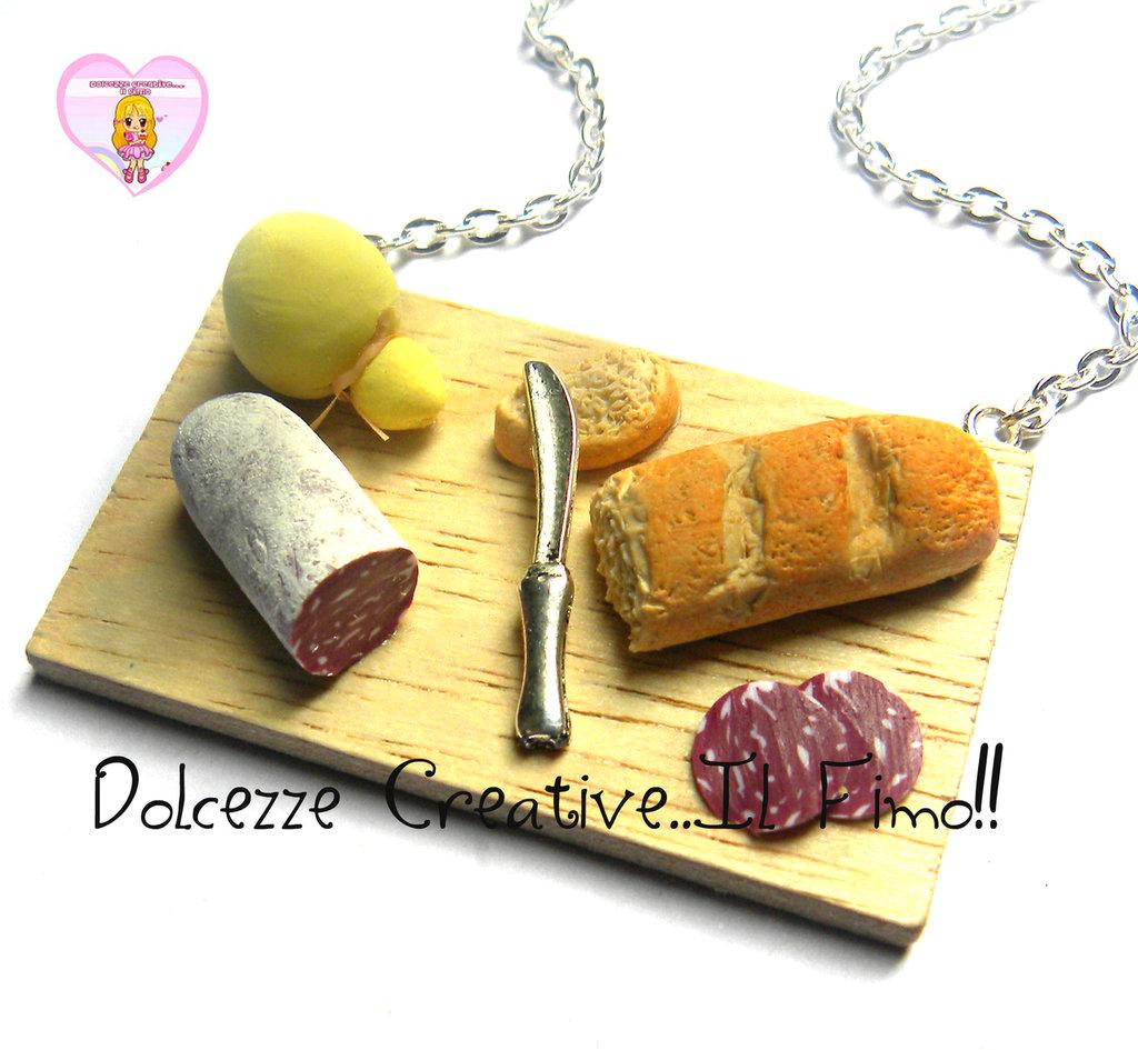 Collana Tagliere  Pranzo - Salame , caciocavallo, pane e coltello - handmade