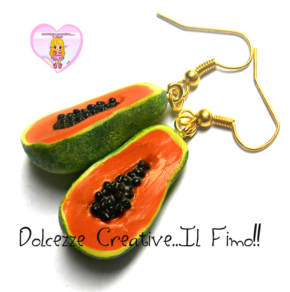 Orecchini Frutta - Idea regalo handmade Papaya - papaia miniature Vegan, vegetarian