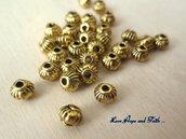 """LOTTO 30 perle """"lanterna oro"""" in metallo (5x3mm) (cods.28796)"""