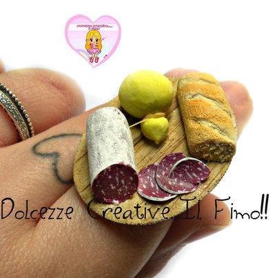 Anello Pranzo - Salame, caciocavallo e pane - miniature handmade kawaii