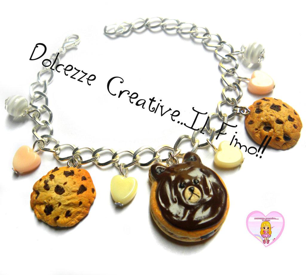 Bracciale Donut - Ciambella Orso e cookie - biscotti con perle cuore - miniature