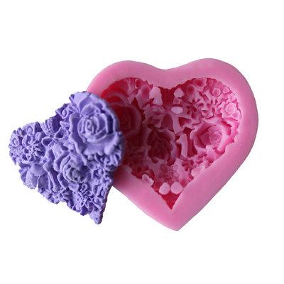 Stampo in silicone 3d cuore con rose