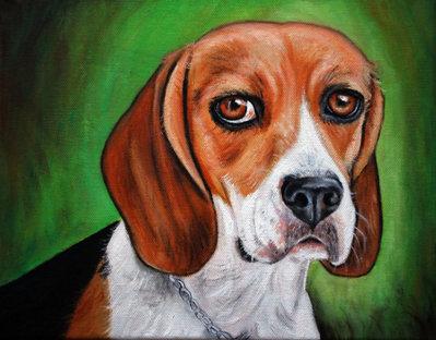 Dipinto quadro cane beagle olio su tela