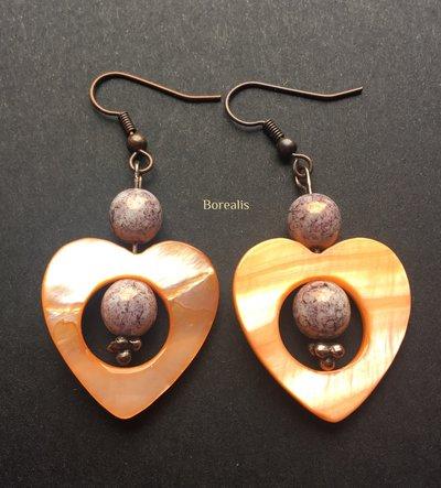 Orecchini Cuore Madreperla Arancione Perle Vetro Artigianale di Boemia