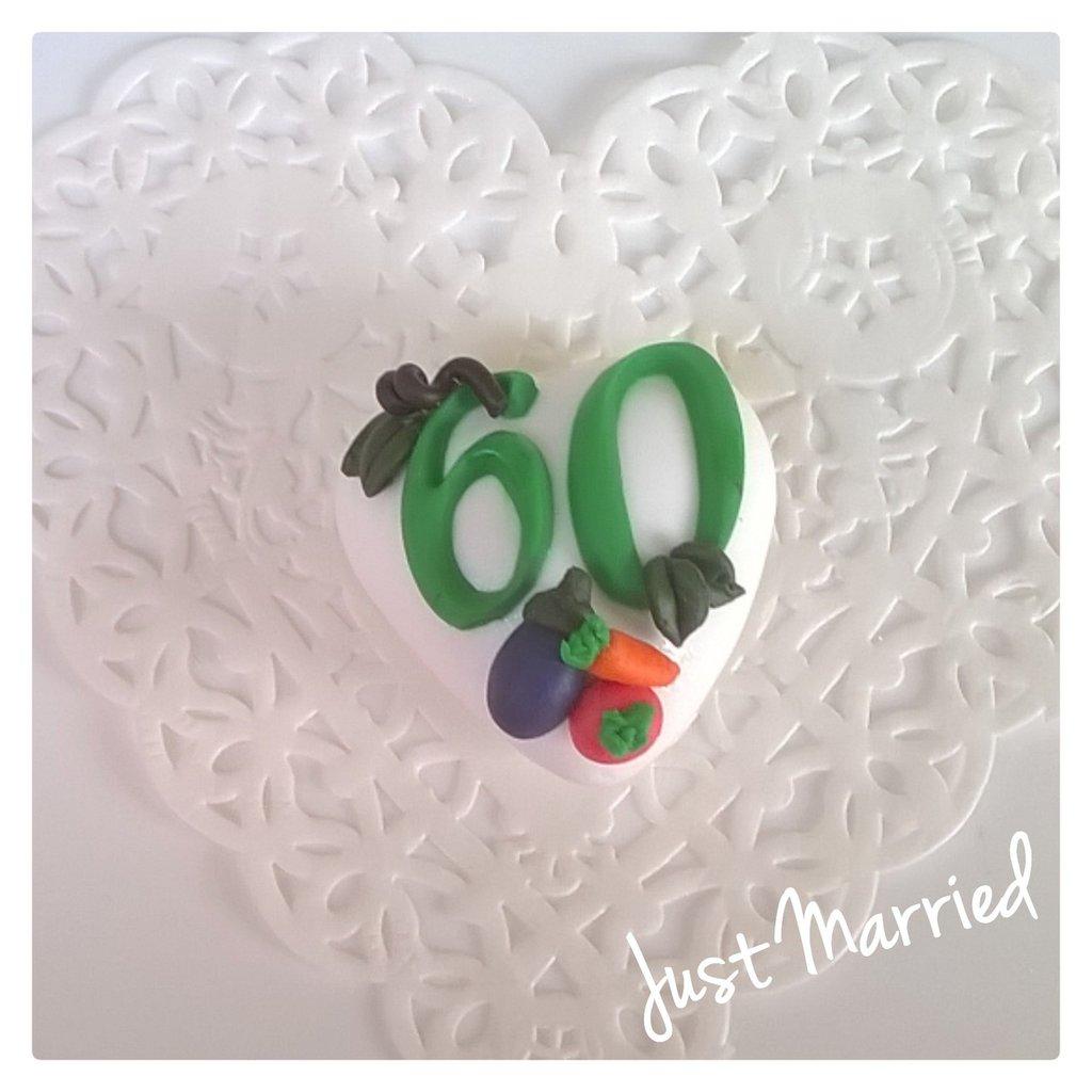 confettata, segnaposto per i sessant'anni, festa di compleanno a tema ortaggi