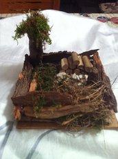 Presepe soggetto natalizio artigianale con legnaia art 3179