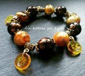 Bracciale elastico con bottoni color ambra