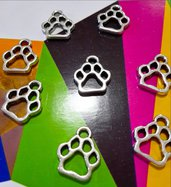 8 charms ciondoli 'Zampette cagnolino' argento tibetano