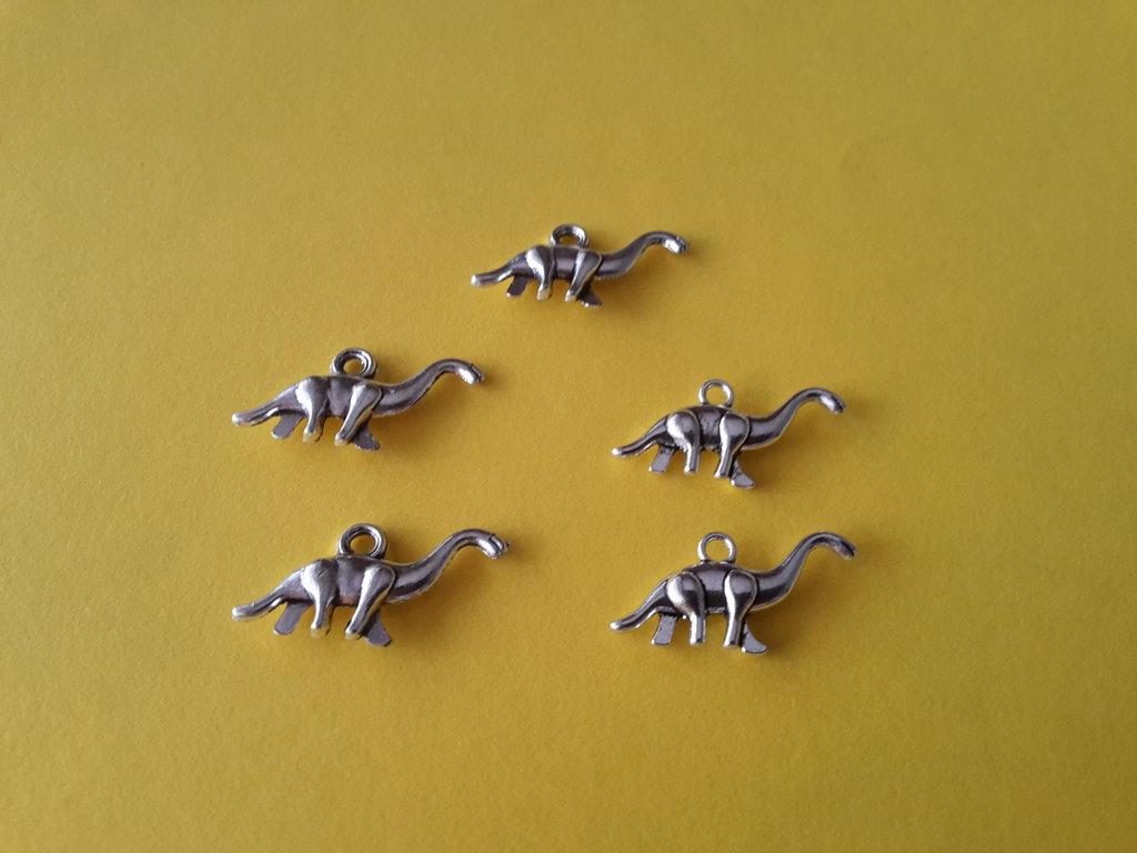 5 charms ciondoli 'Dinosauri preistorici' in argento tibetano