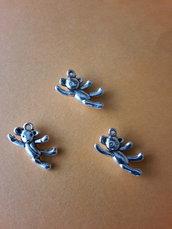 3 charms ciondoli 'Teddy bear' argento tibetano
