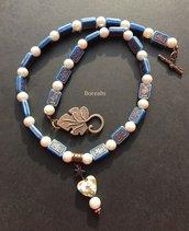 Collana Antica Grecia Perle di Boemia e Vetro Artigianale di Boemia