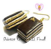 Orecchini Torta Opera - miniature kawaii handmade al cioccolato - idea - Dolce Francese