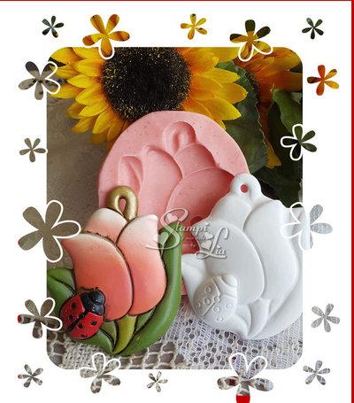 Stampo *Formella tulipano e coccinella*