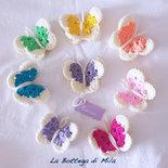 Farfalla 3D uncinetto segnaposto calamita, farfalle, tema matrimonio, cresima, comunione, battesimo, nascita bomboniera bomboniere