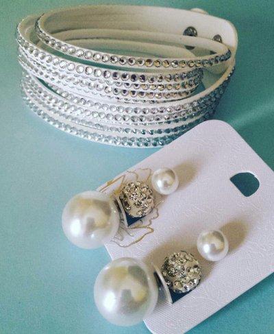 Bracciale Alcantara e strass + orecchini doppia perla e pavè BIANCO