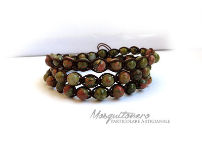 Bracciale da uomo con pallini perle in Unakite verde a 3 giri stile chanluu e macrame