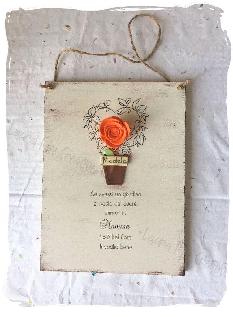 Idea regalo festa della mamma : targa in legno personalizzata