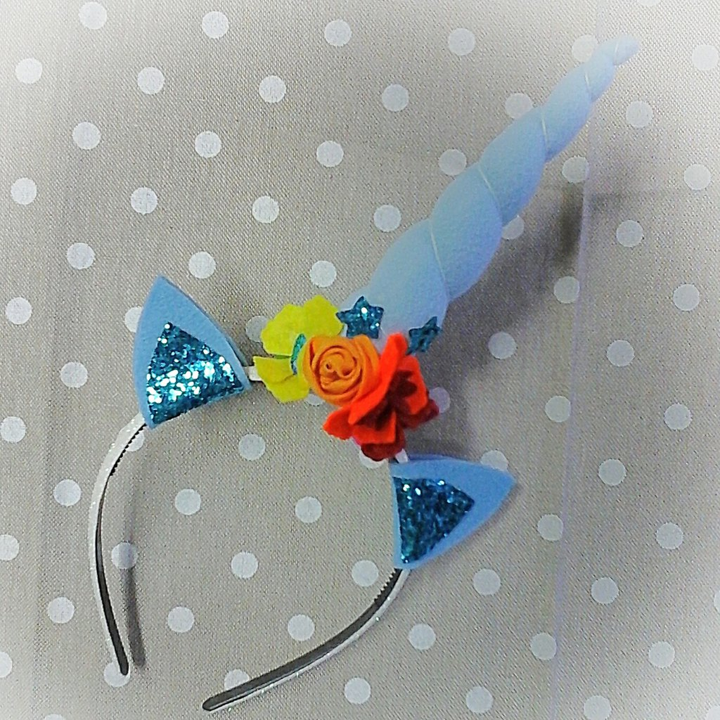 Cerchietto unicorno azzurro